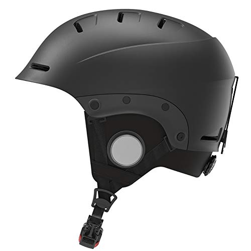 Intelligenter Skihelm mit Bluetooth-Ski- und Snowboardhelm, wasserdicht, Walkie-Talkie, Musik hören, für Männer und Frauen,Schwarz