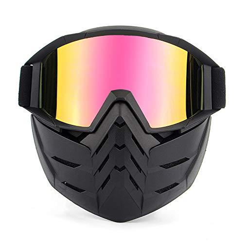 Brillenmaske, Retro-Gesichtsmaske für Masken und Brillen Motorradbrille Aviator Half Helmet Brille Pilot Style Cruiser Scooter Brille Fahrrad Sommer Winter Snowboard Winddichte Brille