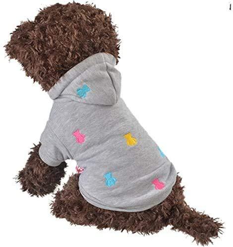 LeerKing Hundemantel Hundejacke Hundepulli Kapuzenpullis Wintermantel für kleine Hunde und Haustier Grau XS