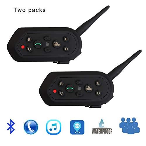 CAPTIANKN Motorrad E6 Bluetooth Walkie-Talkie, Full-Duplex Motorrad Helm Ski Communication Walkie-Talkie Headset Waterproof (Double)