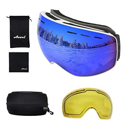 Aoozi Ski Goggles Skibrille Snowboard Brille Schneebrille Herren Damen Kinder Helmet Compatible Skiing Glasses UV-Schutz Anti-Nebel Winddicht (Weißer Rahmen)
