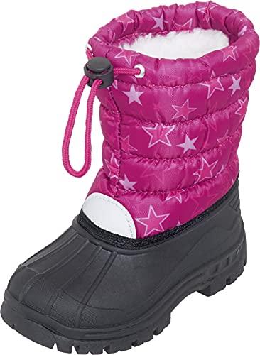 Playshoes Jungen Mädchen Winter-Bootie Sterne Schneestiefel, Pink (Pink 18), 30/31 EU