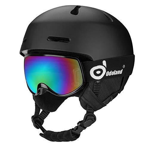 Odoland Kinder Skihelm Schneehelm mit Skibrille für Kinder und Jugendliche (Schwarz, XS)