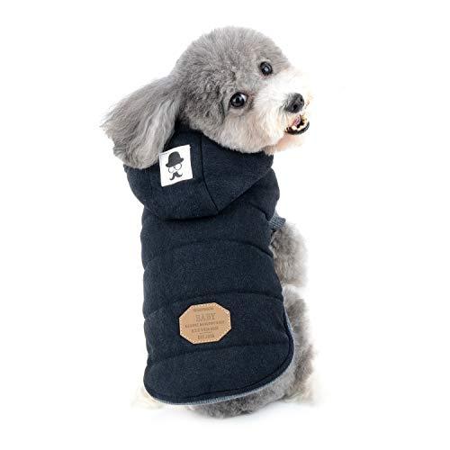 Zunea Hunde Wintermantel für Kleine Hunde, Chihuahua Kleidung, Weich Fleece Welpenmantel Kapuzenpullis Winddicht Katzen Hundeweste Winterjacken Hundemantel für Puppia Schwarz M