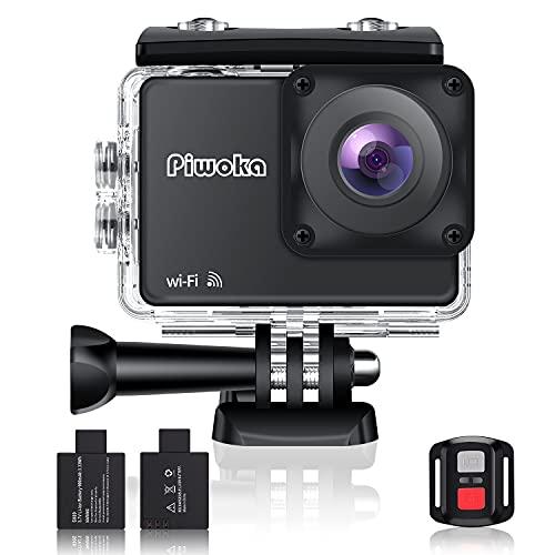 Piwoka 4K Sport Action Cam mit Wi-Fi und Fernbedienung wasserdichte Action Kamera 30fps Video 20MP Fotos