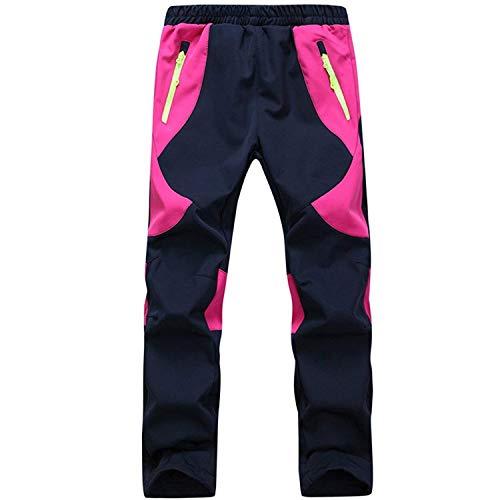 SEEU Kinder Regenhose Winddichte UV-Schutze Warme Hosen Herren Outdoorhose Kletterhose Wanderhose Rose Rot M
