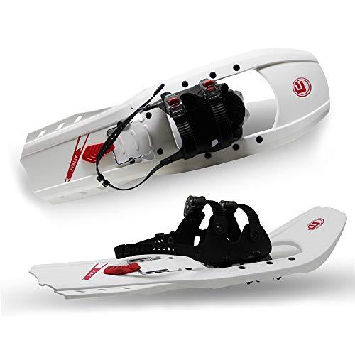 ATTRAC Schneeschuhe Kunststoff I Schneeschuh belastbar bis 110 kg I Gleitschuhe RUTSCHSICHER und verstellbar Dank doppelter Ratschenbindung I Farbe: Weiß-Rot