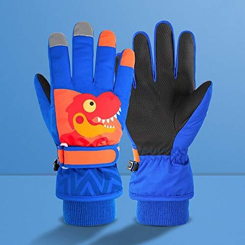 Cartoon Dinosaurier Winter Warm Ski wasserdichte Kinder Schneemobil Snowboard Kinder Mädchen Jungen Handschuhe - Blau-Orange, L.