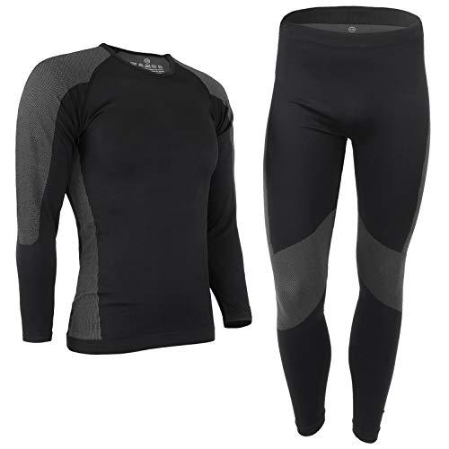 ALPIDEX Herren Funktionswäsche Thermounterwäsche Skiunterwäsche - atmungsaktiv, wärmend und schnell trocknend, Größe:S/M, Farbe:Black-Grey