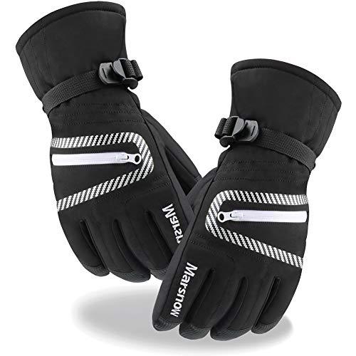 JTENG Skihandschuhe wasserdichte und Winddichte Handschuhe, Kälteschutz in Winterzeit (schwarz, L)