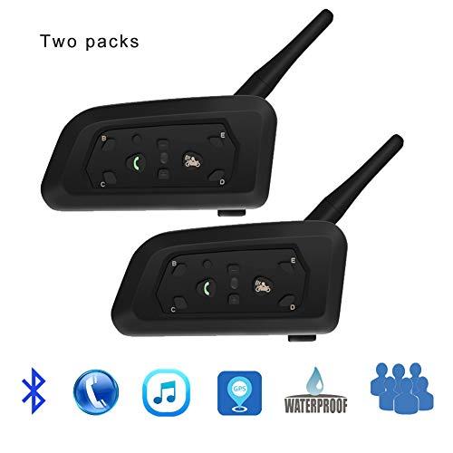CAPTIANKN Motorrad V6Pro Bluetooth Walkie-Talkie, 1200M Motorcycle Helmet Ski Communication Walkie-Talkie Headset Waterproof (Double)