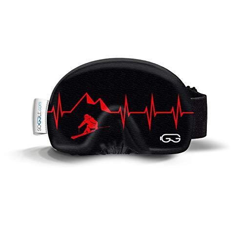 SOGGLE Skibrillen Schutz Überzug aus Mikrofaser (one Size), Farbe:Heartbeat Skier 3