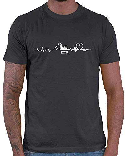 HARIZ Herren T-Shirt Snowboard Freestyle Winter Berge Mountain Plus Geschenkkarten Dunkel Grau 3XL