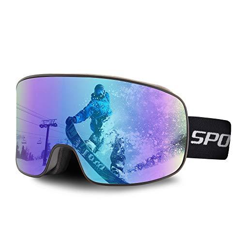 OULIQI Skibrille Herren Damen,Snowboard Brille für Brillenträger Schneebrille OTG UV-Schutz Anti Fog Skibrillen für Wintersportarten, Skifahren, Skaten (Schwarz/Blau - (16.74%))