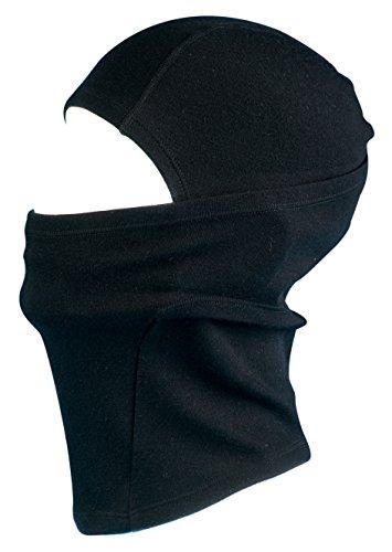 Merino Wolle Sturmhaube Thermal Gesichtsmaske - 100% Merino mit 230gsm Basisschicht. Warm Atmungsaktiv & Windresistent. Fein gestrickte Balaclava geeignet im Winter & Sommer. (Schwarz)