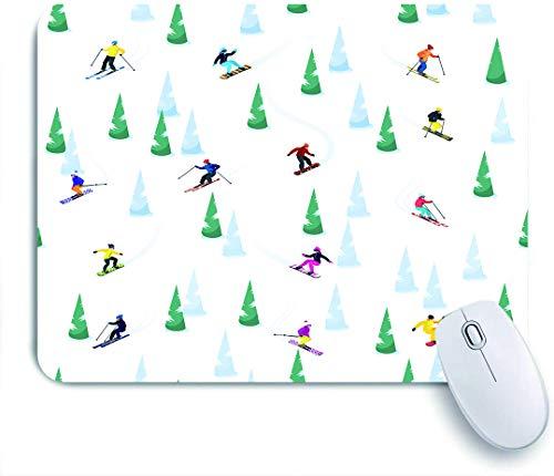 Marutuki Gaming Mouse Pad Rutschfeste Gummibasis,Ski kleine isolierte Figuren von Skifahrereis und Bäumen auf leer,für Computer Laptop Office Desk,240 x 200mm