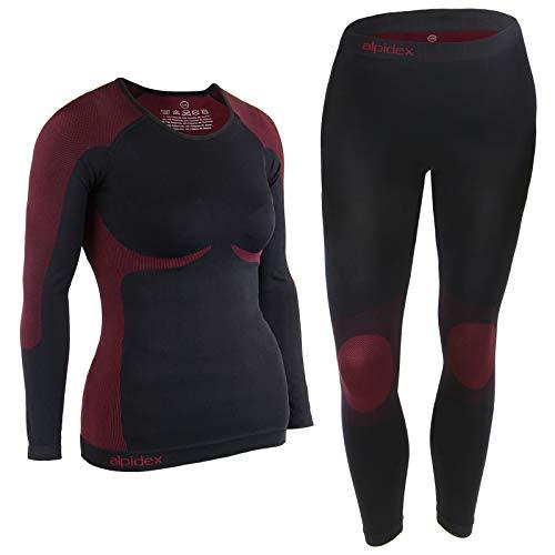 ALPIDEX Damen Funktionswäsche Thermounterwäsche Skiunterwäsche - atmungsaktiv, wärmend und schnell trocknend, Größe:S/M, Farbe:Black-Red