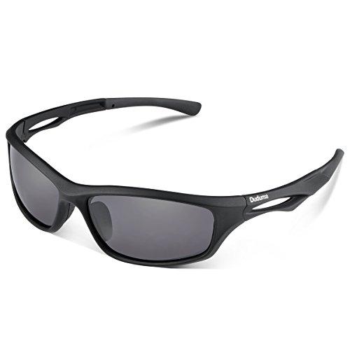 Duduma polarisierte Sport-Sonnenbrille für Ski fahren/ Golf/ Laufen/ Radfahren, Tr90,superleichter Rahmen, für Männer und Frauen Gr. M, black matte frame with black lens