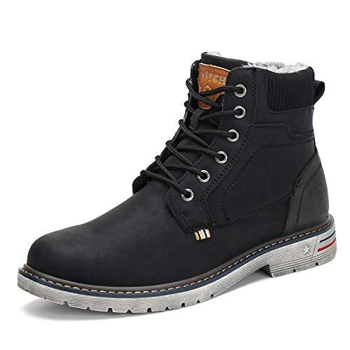 Mishansha Winterstiefel Damen Kurzschaft Stiefel Warm Gefüttert Boots Frauen Winter Schuhe rutschfest Arbeitsstiefel Outdoor Stiefel Schwarz Gr.40