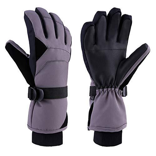 TOMSHOO Skihandschuhe Winterhandschuhe,Wasserfeste Winddicht Winter Handschuhe mit Feste Baumwolle und Baumwolle mit hoher Dichte für das Wintersport Ski Snowboard (Grau-SM)