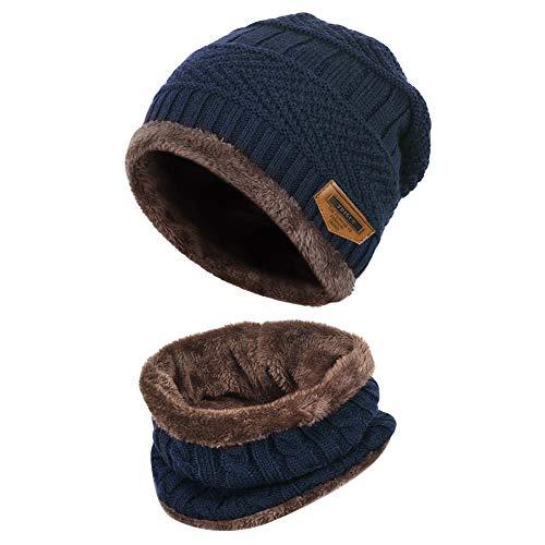 Vbiger Wintermütze Strickmütze Warme Beanie Winter Mütze und Schal mit Fleecefutter für Damen und Herren,Blau-neu,Einheitsgröße