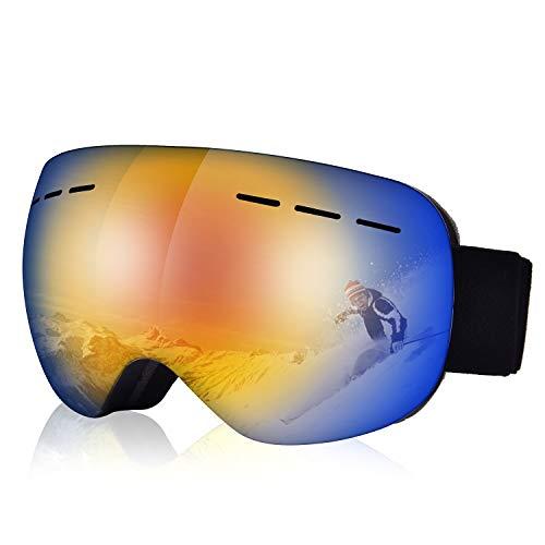 COSMOERY Skibrille Snowboard Brille Doppel-Objektiv UV-Schutz Anti-Fog Skibrille für Damen und Herren (Farbe 1)