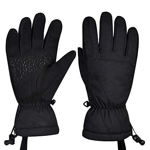 Fitfirst Wasserdichte Skihandschuhe Herren Damen Winterhandschuhe, Warme Touchscreen Handschuhe Fahrradhandschuhe Sporthandschuhe Laufhandschuhe Gloves Vollfinger für Ski, Laufen, Radfahren(Schwarz-S)