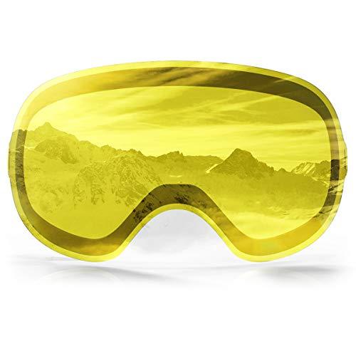 findway Gelb Verspiegelt Magnetischen Wechselgläsern für Skibrille Magnet (Nur Wechselgläsern)