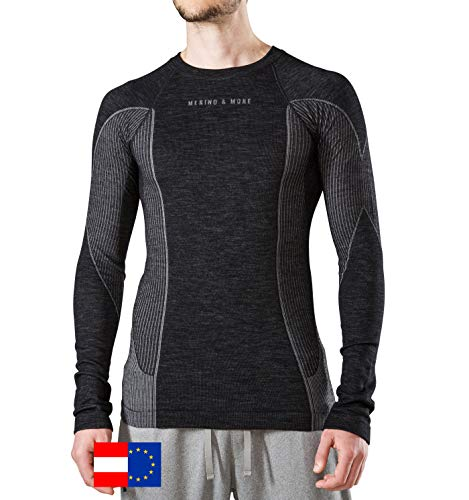 Merino & More Merino Shirt Herren Langarm - Premium Funktionsunterwäsche aus Merinowolle - Sport - Langarm - Funktionsunterhemd schwarz-grau Gr. M