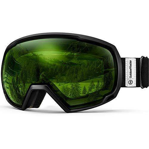 OutdoorMaster Unisex Skibrille für Damen und Herren, Snowboard Brille Schneebrille OTG 100% UV-Schutz Skibrille für brillenträger, Anti-Nebel Snowboard Brille Ski Goggles für Jungen und Mädchen