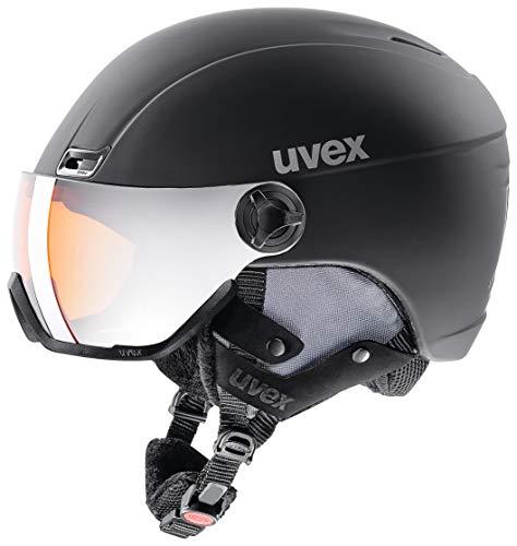 uvex Unisex– Erwachsene, hlmt 400 visor style Skihelm, black, 53-58 cm