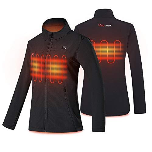 PROSmart Beheizbare Jacke für Damen wasserdichte Beheizte Jacke mit Akku (Schwarz, XL)