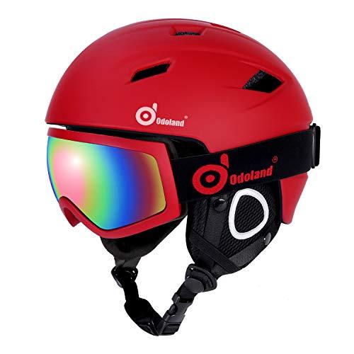 Odoland Skihelm und Skibrille Set, Snowboardhelm mit Snowboardbrille für Erwachsene und Kinder, Schneebrille UV 400 Schutz Windwiderstand Snowboard Brille zum Skifahren und Bergsteigen Rot L-57-59cm