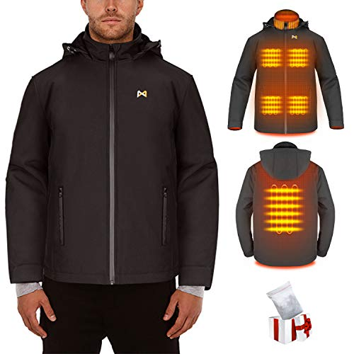 Beheizte Jacken Damen/Herren, leichte Outdoor Heizjacke, Duale Temperaturkontrolle Zwei Heizzonen beheizter Kragen zum Wandern, Campen, Skifahren(Batterie Nicht inbegriffen/Ausgang 5V / 2A oder höher)