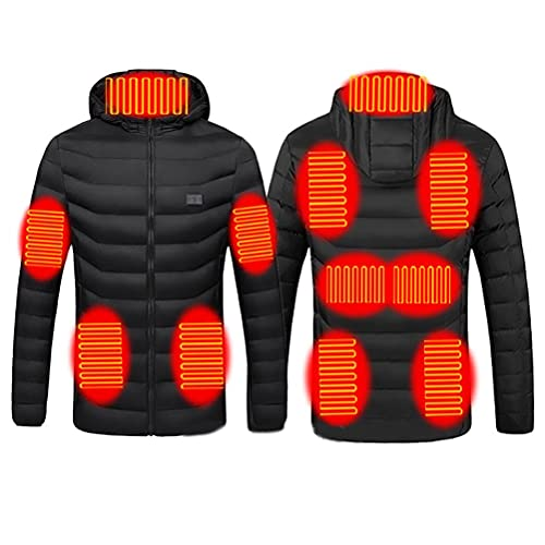 WINBST Erhitzt Jacken, USB Jacke Herren Damen Winddicht Heizjacke mit Dual Control Schalter,Heizmantel mit 11 Heizzonen für Outdoor Wandern Camping(ohne Akku)