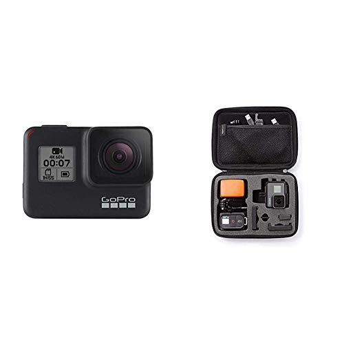GoPro HERO7 Schwarz - wasserdichte Digitale Actionkamera mit Touchscreen, 4K-HD-Videos, 12-MP-Fotos, Livestreaming, Stabilisierung & AmazonBasics Tragetasche für GoPro Actionkameras, Gr. S