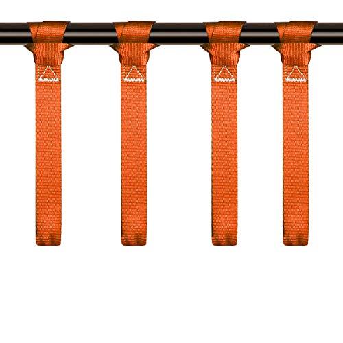 LITTOU 1' x 12' Doppelschlaufen Zurrschlaufen Schlaufen Spanngurte für Motorrad, ATV, UTV, Fahrrad - 2300 Lbs -4 Stück,Orange