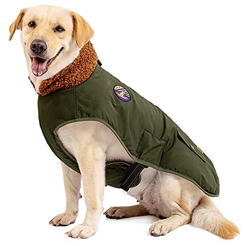 IREENUO Hundemantel Winter,Wasserdicht Hundejacke Winter für mittlere und große Hunde,Warm Hunde Winterjacke mit Verstellbare Gürtel & bauchschutz,Hunde Wintermantel für Herbst Winter,XL