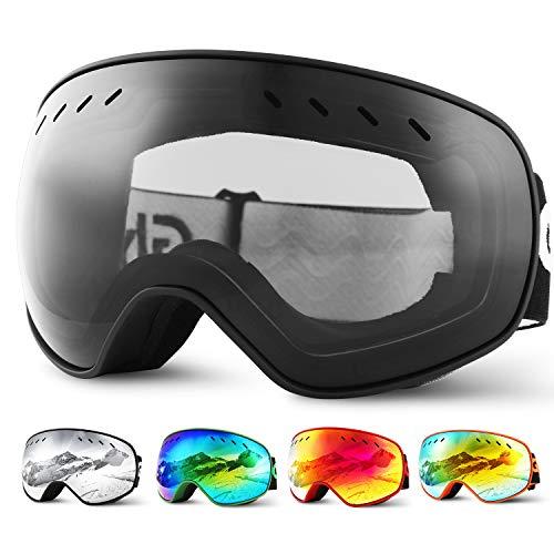 Glymnis Skibrille Snowboard Brille Schneebrille Doppel-Objektiv Schutzbrillen UV-Schutz Anti-Nebel Winddicht für Skifahren Skaten Damen und Herren Jungen und Mädchen mit Reißverschlussbox Schwarz