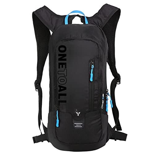 LOCAL LION Fahrradrucksack Skirucksack klein für Damen & Herren 6L Ultraleicht wasserdicht für Trinkblase bis 2L - Ideale zum Skifahren | Radsport | Camping schwarz OHNE TRINKBLASE