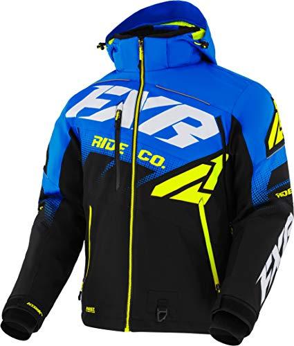 FXR Boost FX Jacke, isoliert, schneefest, feuchtigkeitsableitend, schnell trocknend, Snocross-Mantel, Schwarz / Blau / Hi-Vis – Größe S