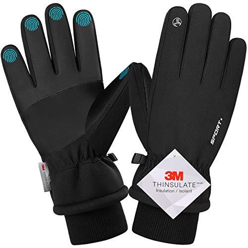wasserdichte Winterhandschuhe, 3M Thinsulate Warme Touchscreen Handschuhe für Herren und Damen, Fahrradhandschuhe für Reiten Laufen Skifahren Wandern Radfahren