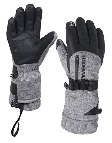 HIKEMAN Winter-Skihandschuhe mit Tasche, wasserdicht, atmungsaktiv, Thinsulate-Handschuhe, warme Handschuhe für Skifahren, Snowboarden, Radfahren und andere Wintersportaktivitäten - grau - L