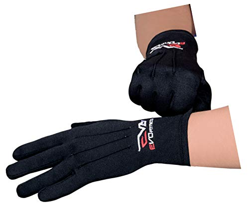 EVO Winter Thermo Innen Handschuhe Golf Ski Fahrrad Motorrad Wandern Basisschicht - Schwarz, L