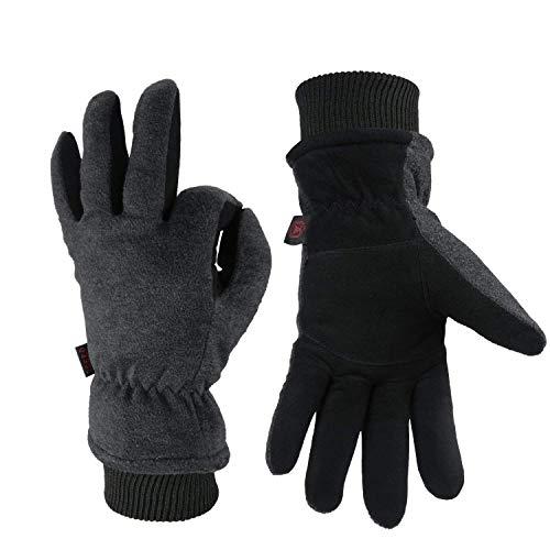 OZERO Winterhandschuhe | Thermo Winter Skihandschuhe Fahrradhandschuhe Laufhandschuhe Motorradhandschuhe | Handschuhe Herren & Damen (Grau, XL)
