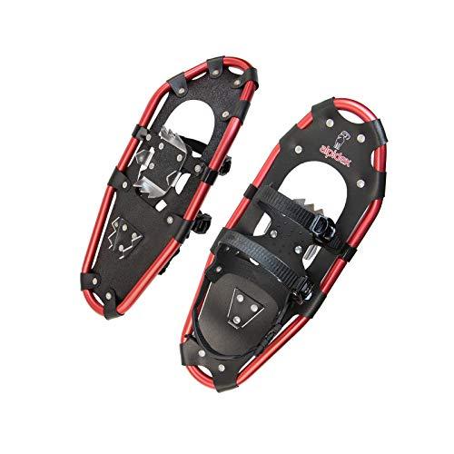ALPIDEX Schneeschuhe Aluminium Rahmen Damen Herren ab Schuhgröße 36 bis 135 kg Ratschenbindung Tragetasche, Farbe:Black/Red 21