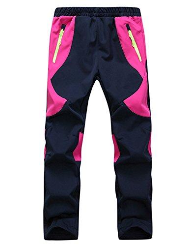 Echinodon Kinder Gefütterte Hose Softshellhose Wasserdicht Winddicht Atmungsaktiv Warm Regenhose Jungen Mädchen Trekkinghose Skihose Rosa XL