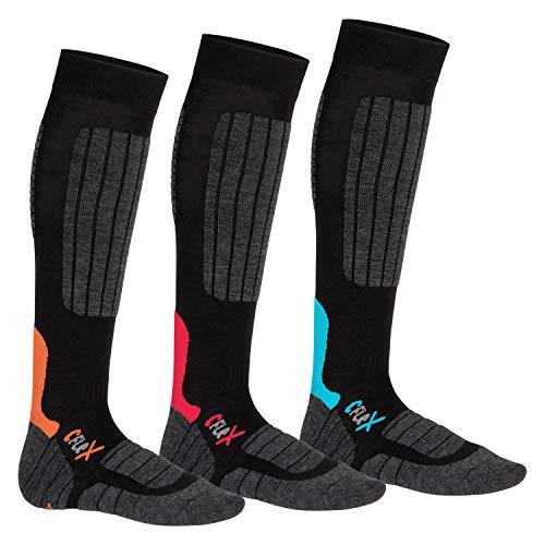 CFLEX Damen und Herren Ski- und Snowboard Socken (3 Paar), Kniestrümpfe High Perfomance - Mix 39-42