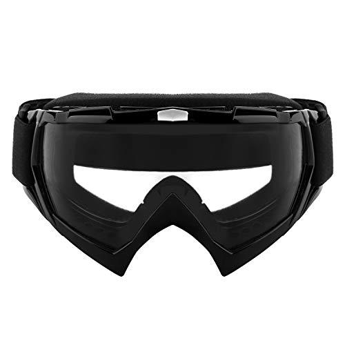 Motocross Brille Hochwertige TPU-Harz Anti Winddichter UV Schutzbrille Skibrille Verstellbarer Motorradbrillen für Mann Frau Jugend Outdoor Offroad Snowboard Wandern Augenschutz (Saubere Linse)