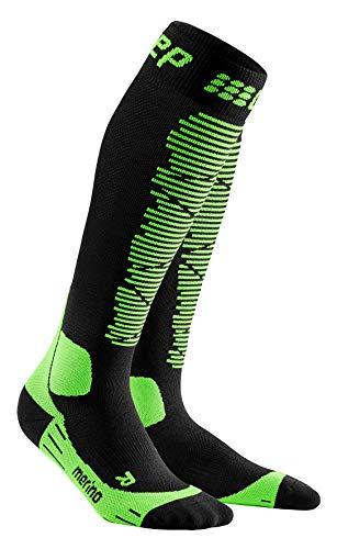 CEP – SKI Merino Socks Redesign für Herren | Merinosocken für den Wintersport in schwarz/grün | Größe IV